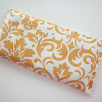 Aromatherapy Eye Pillow - lavender / flax seeds - yoga mask - spa sleep relaxation stress relief - gold damask coworker teacher