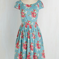 50s Long Short Sleeves Fit & Flare Unmatched Panache Dress in Roses