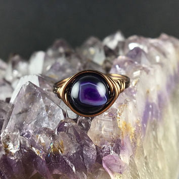 Agate stone ring, Agate ring, purple Agate ring, gemstone ring, handmade ring, wire ring , stone rings, wire wrapped ring, geode ring