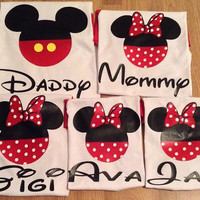 Free/Fast  Shipping for US Mickey and Minnie Mouse Family 3/4 long sleeve  Baseball  T-Shirts