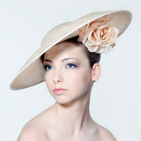 Asymmetric Hat With Silk Rose And Veiling