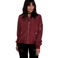 Burgundy She's Bomber Jacket