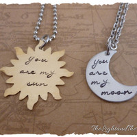 Valentine's Day Gift - Couples Set - Sun Moon - Personalized Hand Stamped Jewelry -  hand stamped necklace
