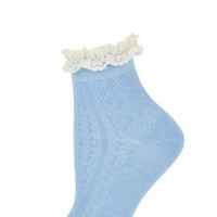 Cornflower Lace Trim Socks - Tights & Socks  - Clothing