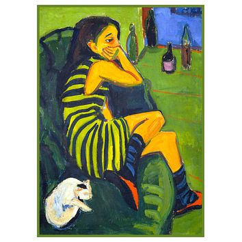 Portrait of a Female Artist by Ernst Ludwig Kirchner Counted Cross Stitch Pattern