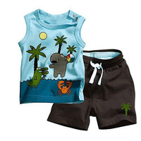 Toddlers Baby Boy's Outfits Bodysuits Clothes Set Coconut Tree Pattern Sleeveless Clothing Tops+Pants