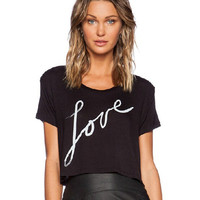 Black Love Print Cropped Top