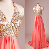 Gold and Coral Halter Beading V-neck Open Back A-line Long Evening dress,Bridesmaid dresses,Cocktail dresses,Senior prom dress