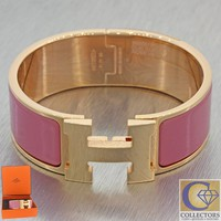 New Hermes Clic H Rose Velours Palladium Plated Hardware 20mm Bangle Bracelet J8