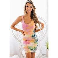 See The Good Tie Dye Bodycon Dress (Pink Multi)