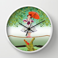 Halloween haunted mansion the girl with the crocodile Decorative Circle Wall Clock Watch by Three Second