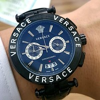 Versace embossed logo case retro minimalist quartz watch