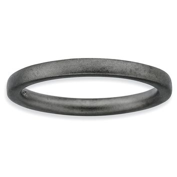 Sterling Silver Stackable Expressions Black-plated Satin Ring