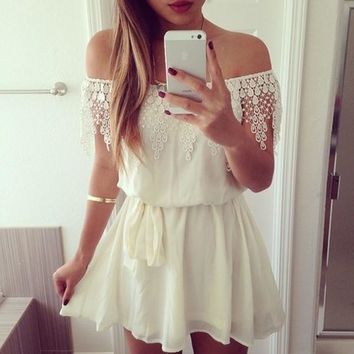 Women Lace Gallus Sleeveless Simple Style Girdling Summer Dress White Color = 5738890561