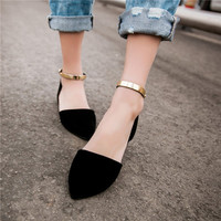 Womens  Girls Ballet Flats Pointed Toe Suede Flock  Shoes