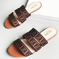 Fendi New fashion more letter print slippers leisure shoes women