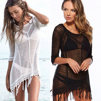 Crochet Beach Cover Up with Tassles