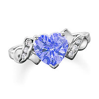 Lab-Created Ceylon Sapphire Heart Ring in 10K White Gold with Diamond Accents - View All Rings - Zales