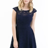 Rowan Fit and Flare Dress in Navy