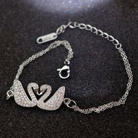 LMFUP0 Swarovski Woman Fashion Diamond Chain Plated Bracelet Jewelry-1