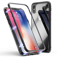 iPhone XR Magnetic Adsorption Metal Frame Case with Tempered Glass Back