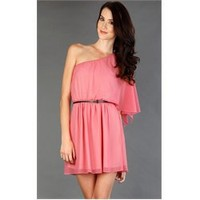 CT2315 Pink One Shoulder Goddess Dress and Womens Fashion Clothing & Shoes - Make Me Chic