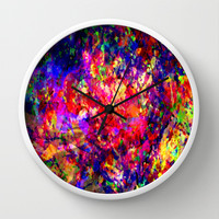 abstract tropical flowers Wall Clock by Sandy Moulder