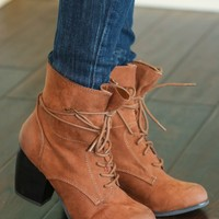 Walk The Walk Booties-Cognac