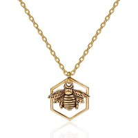 Antique Gold Color Honeycomb Bee Hollow Pendant Necklace