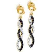 Black Diamond Fashion Earrings in 10k Gold 0.15 ctw