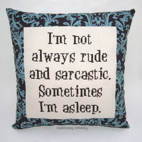 Funny Cross Stitch Pillow, Brown Pillow, Rude and Sarcastic Quote