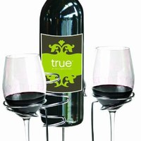 Picnic Stix Set by True Fabrications - Chrome Stakes For 2 Wine Glasses and a Bottle, Drink Outside, No Spills!