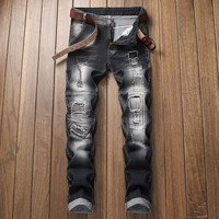 Black Ripped Holes Ruffle Jeans [3444986642525]