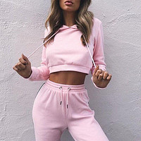 Womens Cropped Jogger Suit