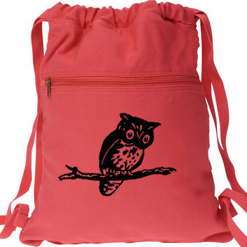 Owl on Branch Canvas Backpack - Drawstring Book Bag