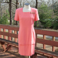 Vintage Sheath Dress 80's peach Coral Salmon Color by Dustin Saige ~ Size 8, Bust 39 inches ~ Looks Like 2 piece One Piece Dress Made in USA
