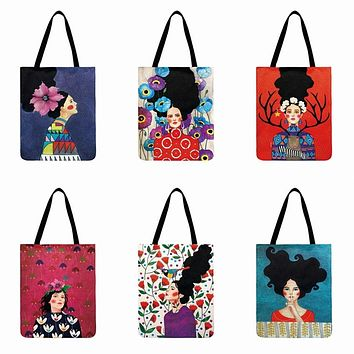 Frida Kahol Painted Print Shoulder Tote Bags 40*42cm