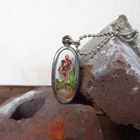 My Zombie Pet Pendant....His Name is Ned....Miniature Zombie Necklace My Own Zombie Friend Pendant