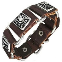 Antiqued Infinity Pyramid Brown Leather Buckle Bracelet: Jewelry: Amazon.com