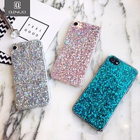 QINUO Silicone Bling Powder Soft Case For iPhone 5 5S 7 6 Plus Shinning Glitter Phone Cover for iPhone 8 7 6 6s Plus Cases Shell