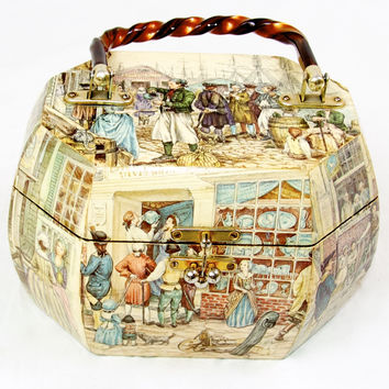 Vintage Wood Octagon Purse with Decoupage
