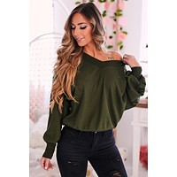 Reese Waffle Knit Top (Olive)