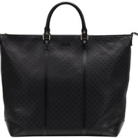 Gucci Black Gg Diamante Leather Top Handle Large Tote Bag