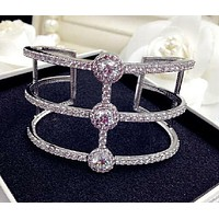 Open Ends Zirconite Cubic Zirconia extra wide geometric 3-line Rhodium Bangle Bracelet