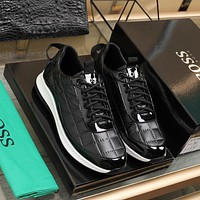 BOSS  Men Fashion Boots fashionable Casual leather Breathable Sneakers Running Shoes