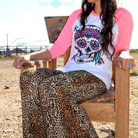 Cheetah Palazzo Pants with Turquoise trim