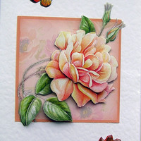 Rose Hand-Crafted 3D Decoupage Card - Blank for any Occasion (1489)