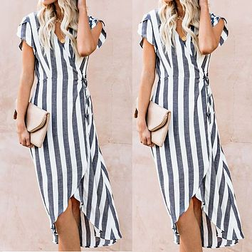 New striped short-sleeved long skirt V-collar with lady dress in summer