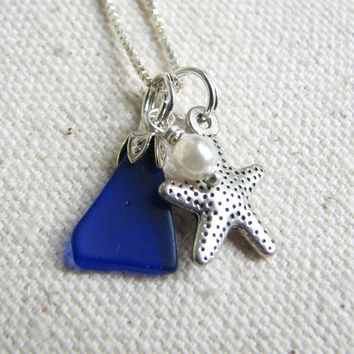 Cobalt Blue Sea Glass Necklace - Silver Starfish Sea Glass Jewelry, Blue Beach Glass Jewelry, BeachGlass Necklace