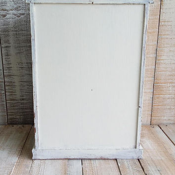 Large Vintage Shabby Chic Rustic Wooden Jewelry Box Armoire Painted Antique White Distressed Upcycled Refurbished